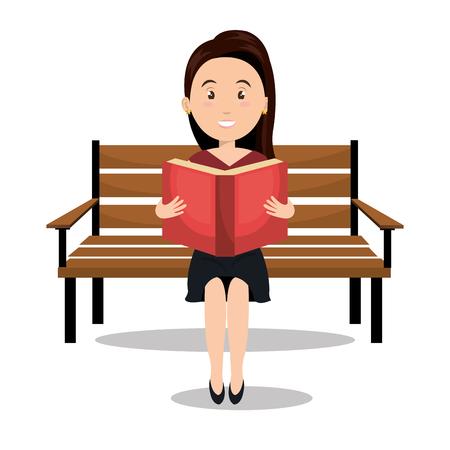 女性の読書教科書アイコン ベクトル イラスト デザイン