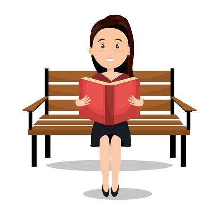 woman reading textbook icon vector illustration design Illustration
