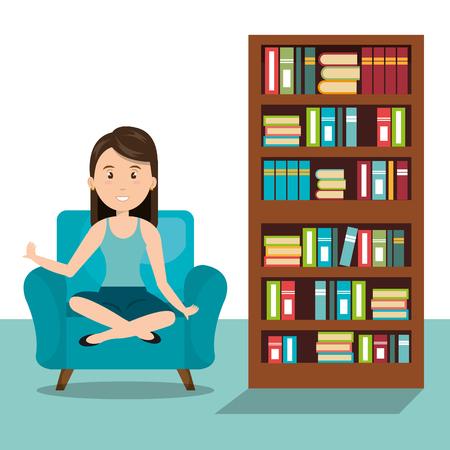 sitting sofa: woman sitting on sofa icon vector illustration design Illustration