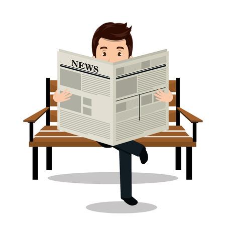 남자 신문 아이콘 벡터 일러스트 디자인을 읽고 일러스트