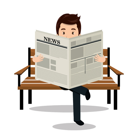 man reading newspaper icon vector illustration design Illustration