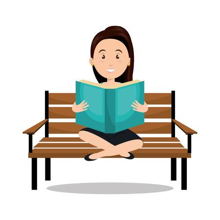 tabloid: woman reading textbook icon vector illustration design Illustration