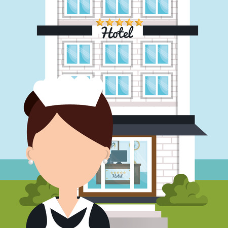 hotel staff: room service hotel isolated icon vector illustration design Illustration