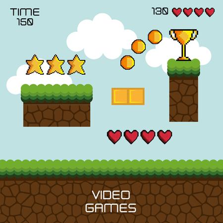 display game pixel interface vector illustration design Illusztráció