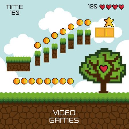 weergave spel pixel-interface vectorillustratieontwerp