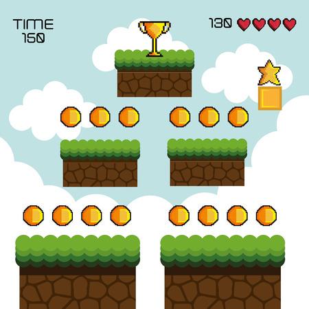 Anzeige Spiel Pixel Interface Vektor-Illustration Design Illustration