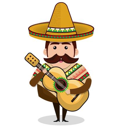 Mexicaanse man karakter geïsoleerde pictogram vectorillustratieontwerp