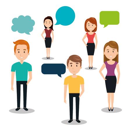 people talking speech communication vector illustration design