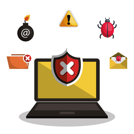 detected: internet security information icon vector illustration design