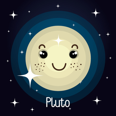 pluto: pluto planet character space background vector illustration design