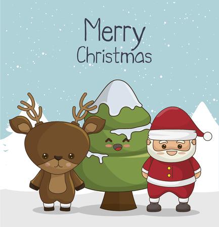 snowscape: happy merry christmas design, vector illustration eps10 Illustration