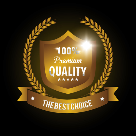 best quality: seal guaranteed premium quality gold vector illustration design