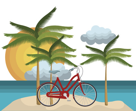 beautiful summer landscape icon vector illustration design
