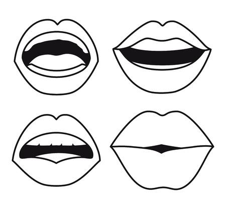 set lips female d icons vector illustration design Vettoriali