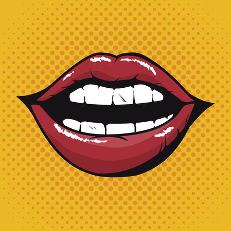 唇の女性の美しい d アイコン ベクトル イラスト デザイン  イラスト・ベクター素材