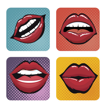 shapes cartoon: set lips female d icons vector illustration design Illustration