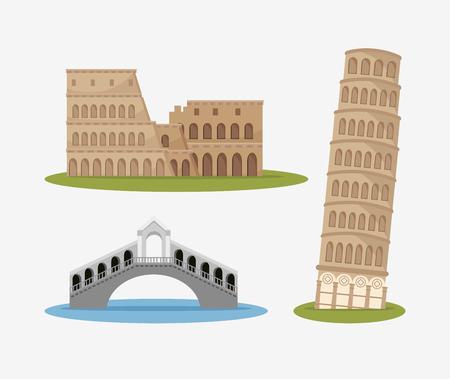 historic: architecture italian culture isolated vector illustration design