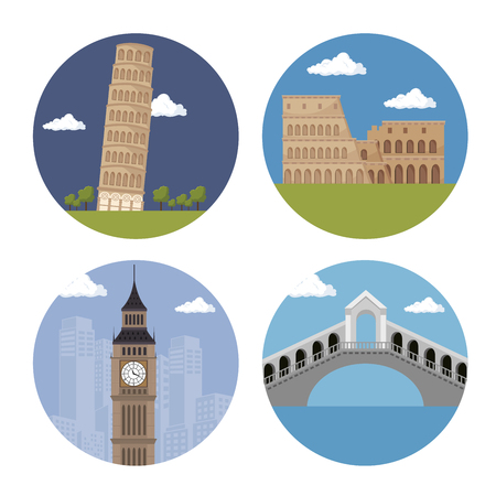 italian culture: architecture italian culture isolated vector illustration design