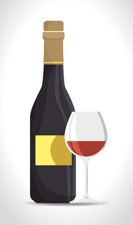 vermouth: italian wine cup and bottle vector illustration design Illustration