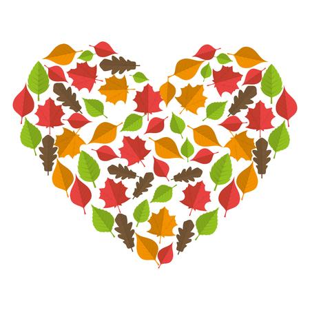 autumn season dry leaves foliage heart decoration vector illustration
