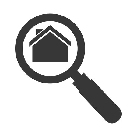 real state: house magnifying glass real state search business vector illustration