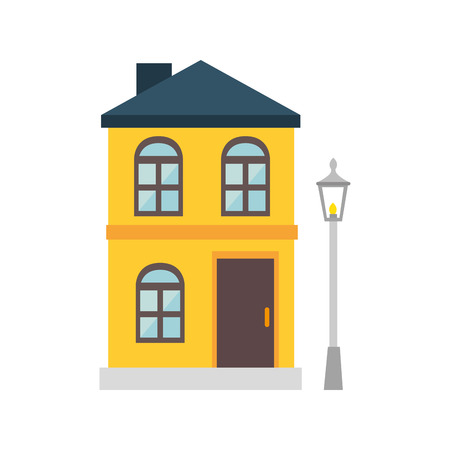 residential neighborhood: house modern building real estate property exterior view vector illustration