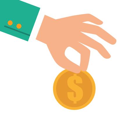 hand coin donating money capital economy financial profit vector illustration