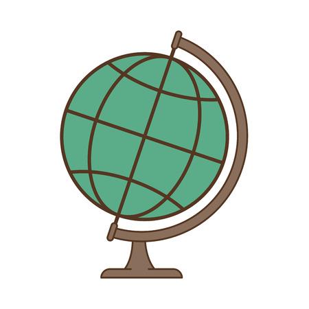 earth globe planet world map education object vector illustration