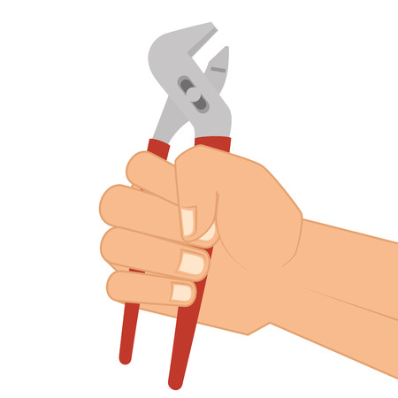 groove: hand holding a groove pliers repair and fix construction tools equipment vector illustration