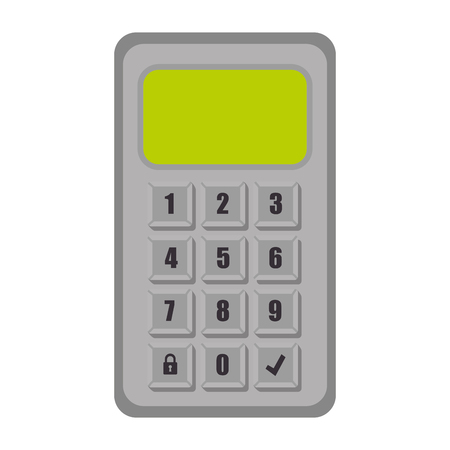 unlocked: password code numbers electronic buttons locked unlocked security system vector illustration
