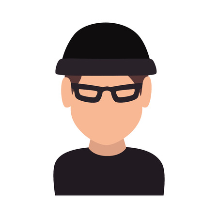 theft: thief cartoon robber criminal man theft wearing black clothes vector illustration
