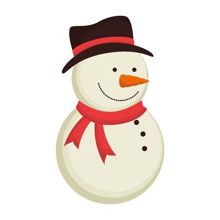 snowman cartoon: snowman wearing hat red scarf cartoon christmas season character decoration vector illustration