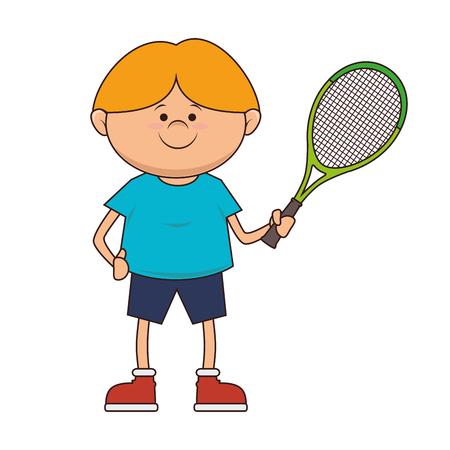 slip homme: garçon gosse vecteur joueur de tennis raquette de bande dessinée jeu de sport illustration