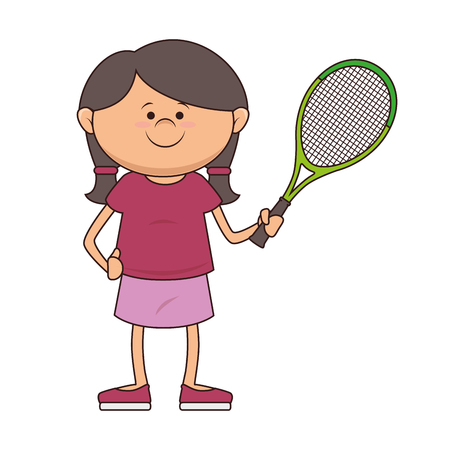 girl kid tennis player cartoon  racket sport game vector illustration