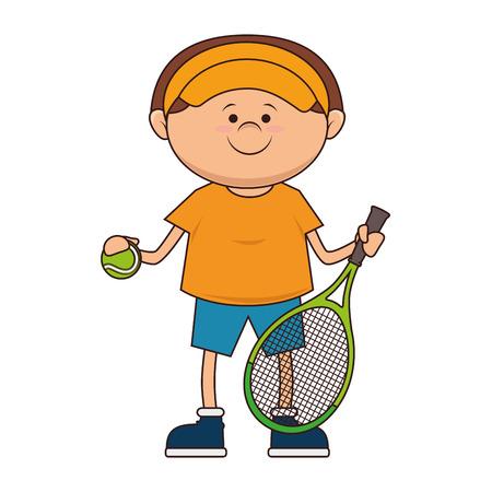 boy kid tennis player cartoon  racket sport game vector illustration