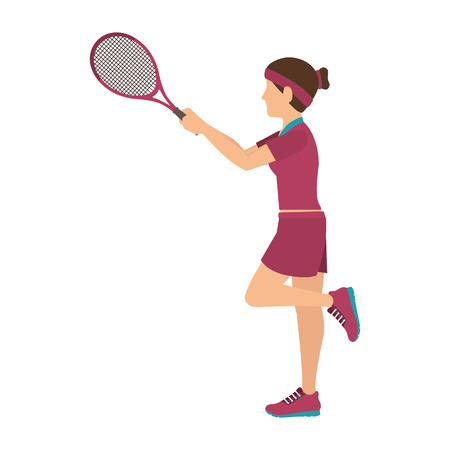 double game: girl player cartoon playing tennis sport game vector illustration