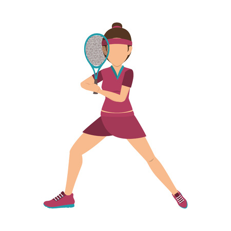 girl player cartoon playing tennis sport game vector illustration