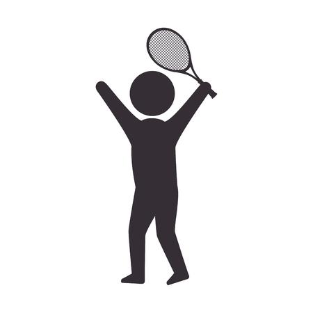 posture: player man  tennis sport game moving posture racket vector illustration