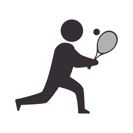 moving down: player man  tennis sport game moving posture racket vector illustration