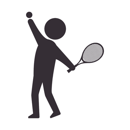 double game: player man  tennis sport game moving posture racket vector illustration
