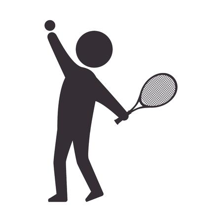 player man  tennis sport game moving posture racket vector illustration