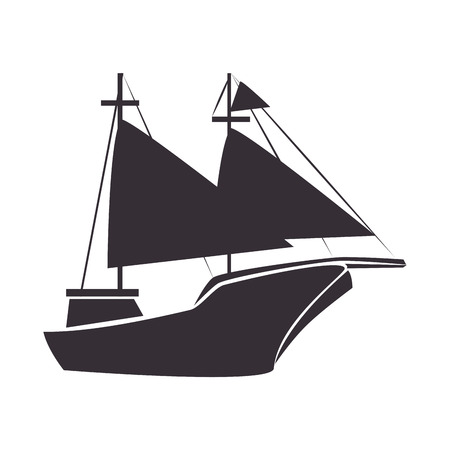 transportation silhouette: sailboat ship ocean sea navigation vehicle transportation silhouette vector illustration Illustration