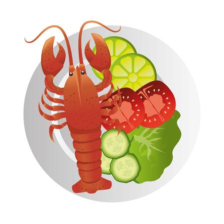 lobster sea animal seafood gourmet luxury plate vector illustration