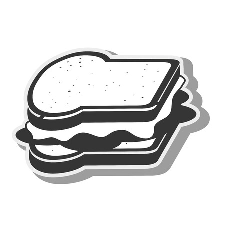 toasted sandwich: sandwich fast dinner food snack lunch silhouette vector illustration