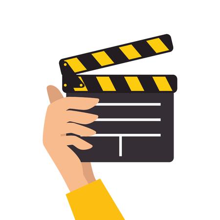 clapboard: clapboard clapper movie film action object scene equipment vector illustration