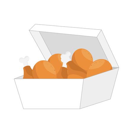 chicken dish: chicken leg fast food dish tasty cartoon vector illustration
