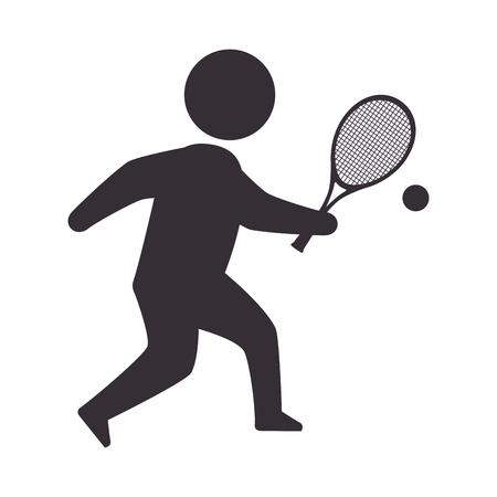 slip homme: joueur de tennis homme jeu de sport posture mouvement vecteur raquette illustration