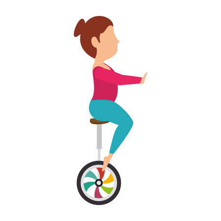 woman riding unicycle  juggler acrobatics show cartoon exercises vector illustration
