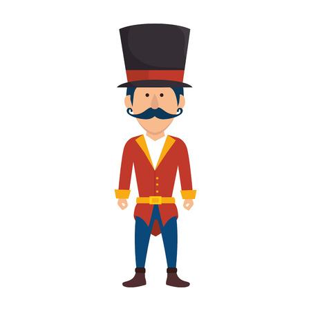 avatar man mustache announcer circus festival funfair vector illustration Illustration