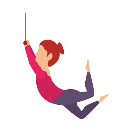juggler: woman juggler acrobatics show cartoon exercises vector illustration